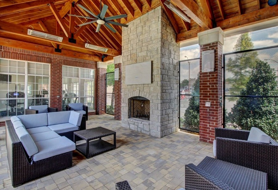 Outdoor seating near fireplace