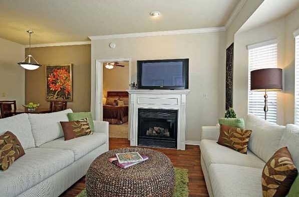 Apartment living room with seating and fireplace. Click to view the photo gallery.