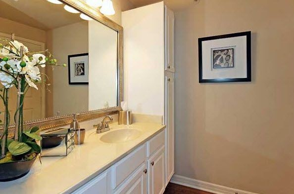 Vanity in apartment bathroom. Click to view the photo gallery.