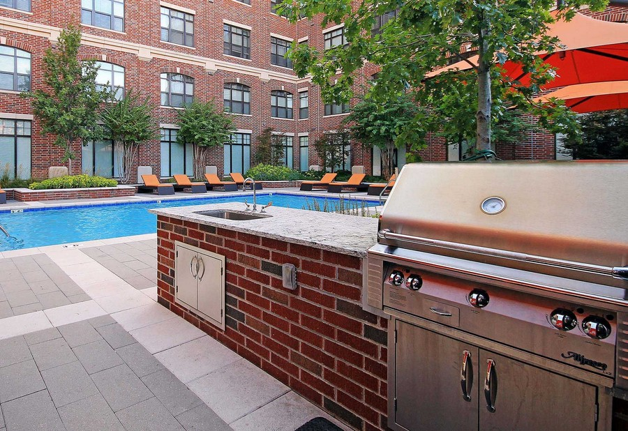 Outdoor kitchen and pool