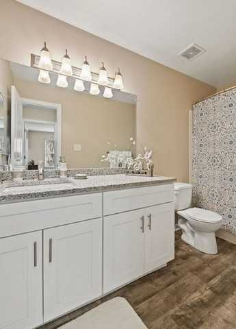 bathroom double vanity, toilet. Click to view the full size image.