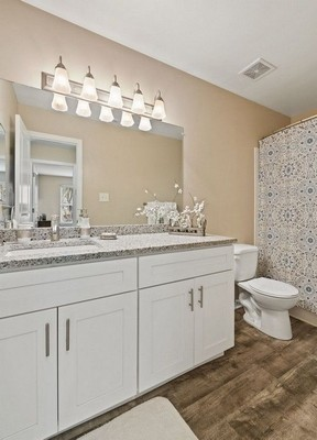 bathroom double vanity, toilet. Click to view the photo gallery.