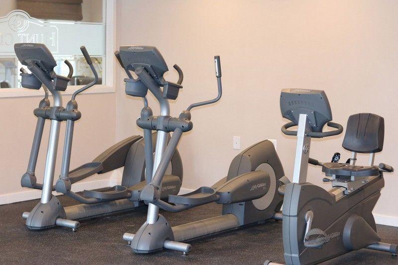 fitness center, stationary bikes