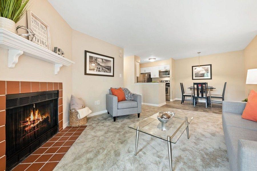 living room, grey carpet, grey furniture, fireplace