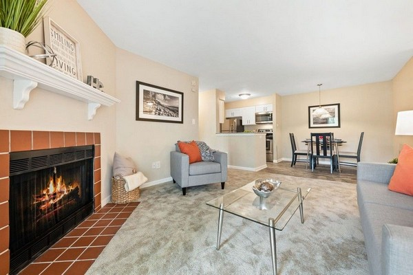 living room, grey carpet, grey furniture, fireplace. Click to view the photo gallery.