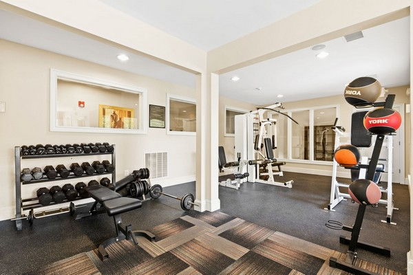 Weight lifting equipment in fitness center. Click to view the photo gallery.