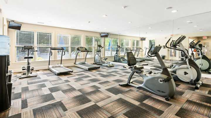 Fitness center with cardio equipment. Click to view the full size image.
