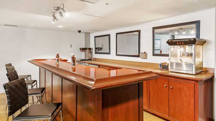Bar area with popcorn machine. Click to view the full size image.
