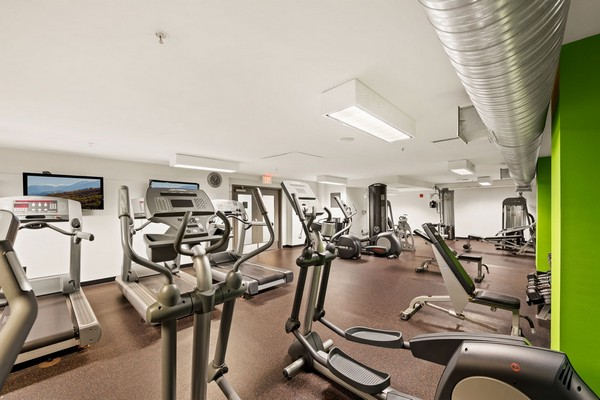 Fitness center with cardio equipment. Click to view the photo gallery.