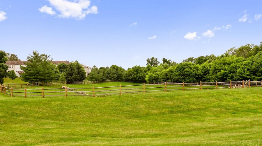 Green space with grassy ridge and fenced area