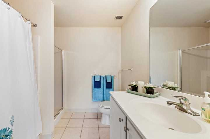 Apartment bathroom with large mirror. Click to view the full size image.