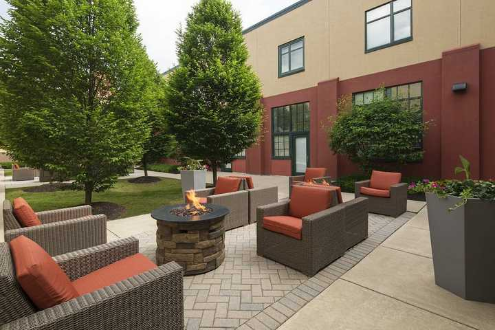 Fire pit with seating area. Click to view the full size image.