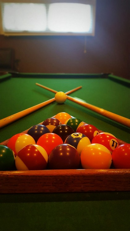close up view of pool table