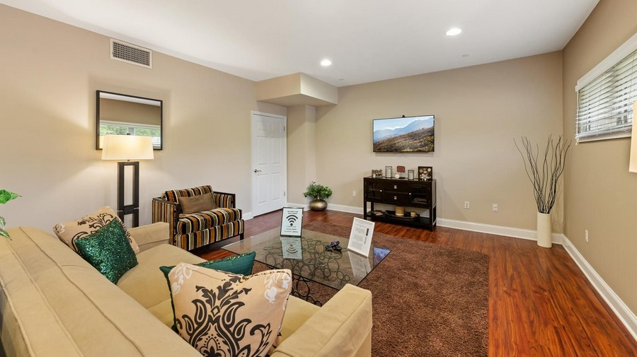 Clubroom with couch and television