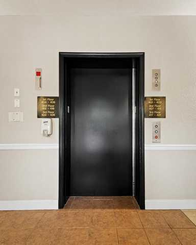 Elevator in apartment building. Click to view the full size image.
