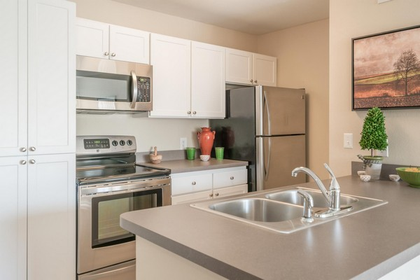 kitchen with sink, steel appliances. Click to view the photo gallery.