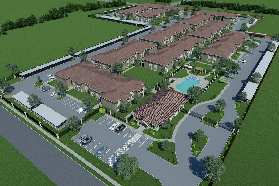 Aerial rendering of community with clubhouse and pool