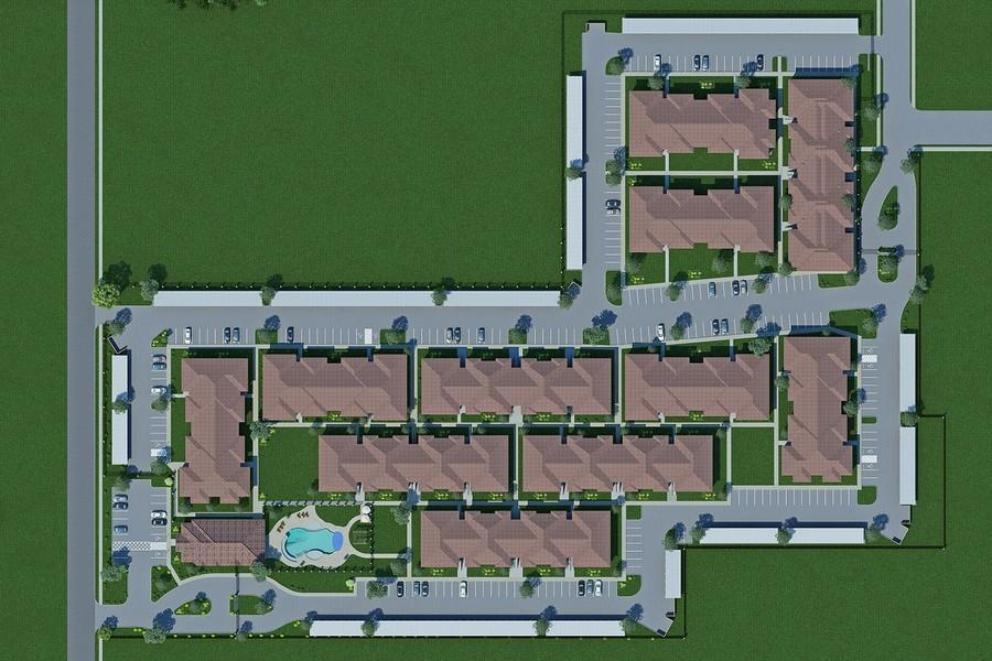 Overhead rendering of apartment community