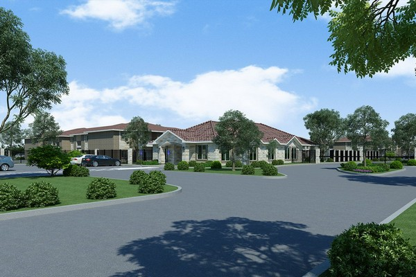 Rendering of apartment parking lot and clubhouse. Click to view the photo gallery.