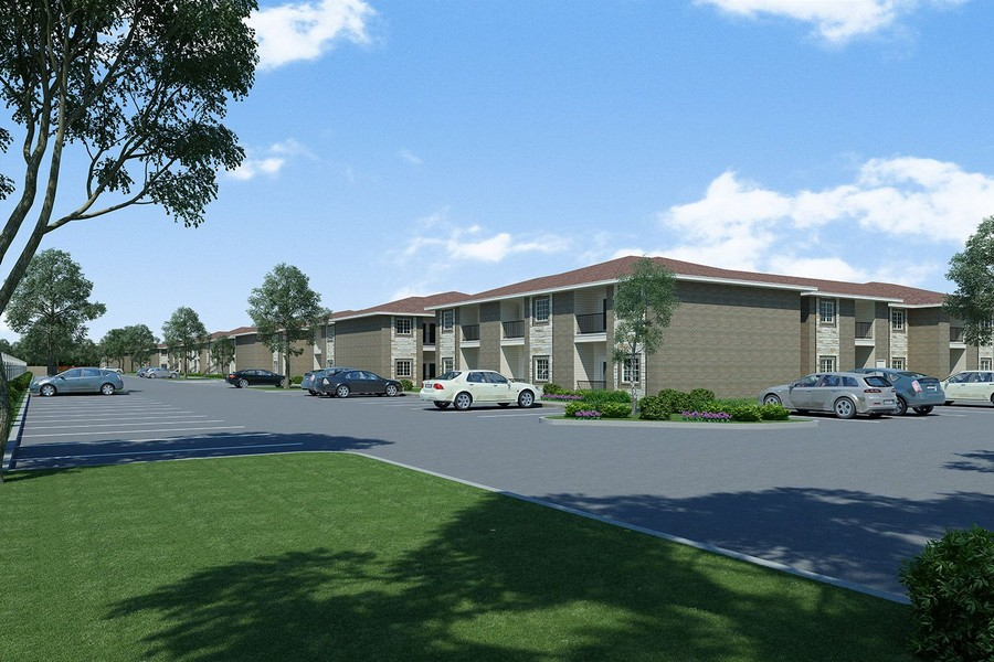 Rendering of apartment buildings and parking lot