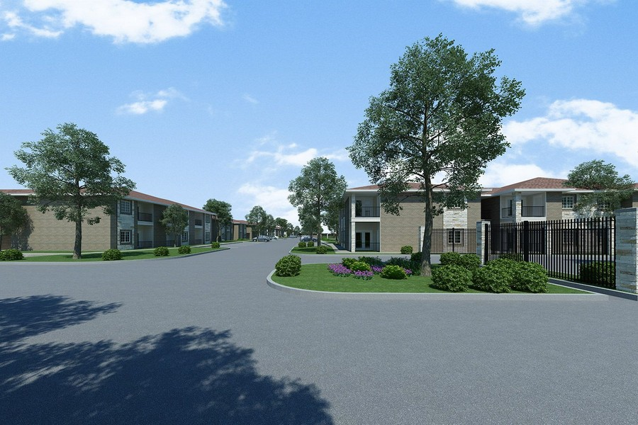 Rendering of apartment driveway area with buildings in background