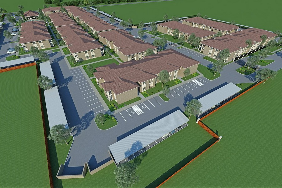 Rendering of aerial view of apartment community