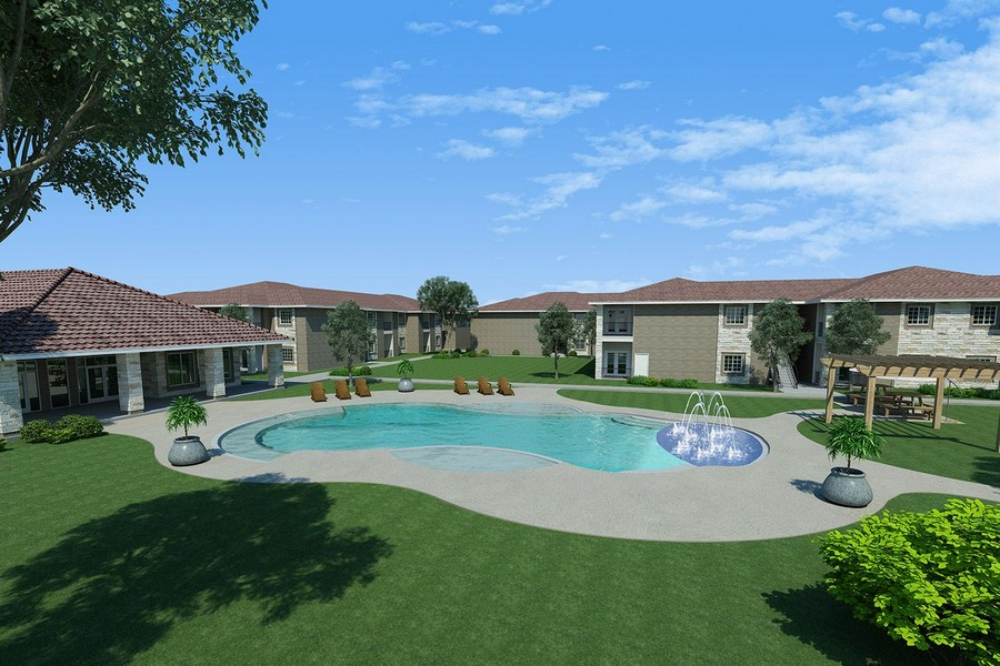 Rendering of elevated view of pool area