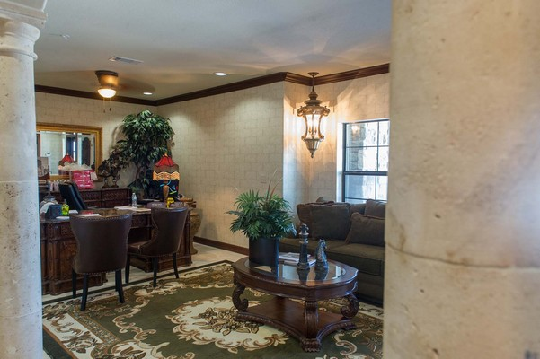 Leasing center with desk and seating. Click to view the photo gallery.