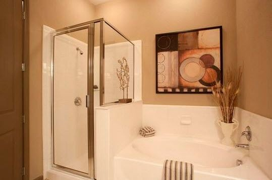 deep soaking tub and glass standing shower