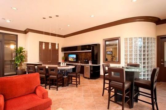 resident kitchen with seating and coffee bar