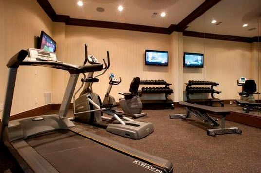 fitness center equipment and free weights