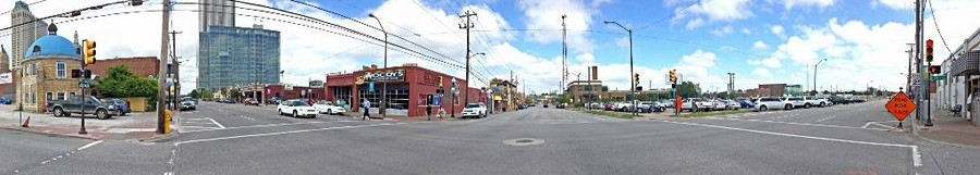 Panoramic street view of Downtown Tulsa