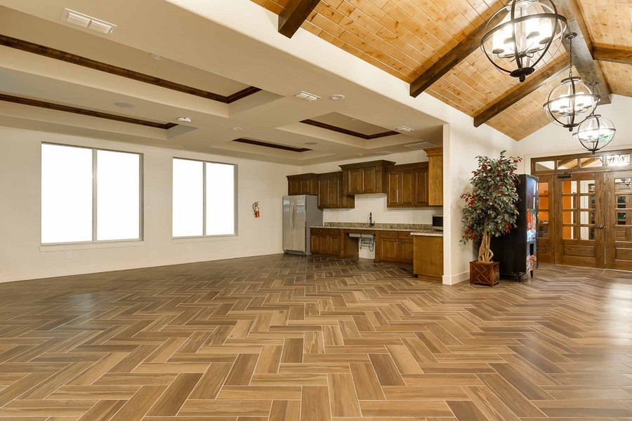 Wide view of clubhouse kitchen area