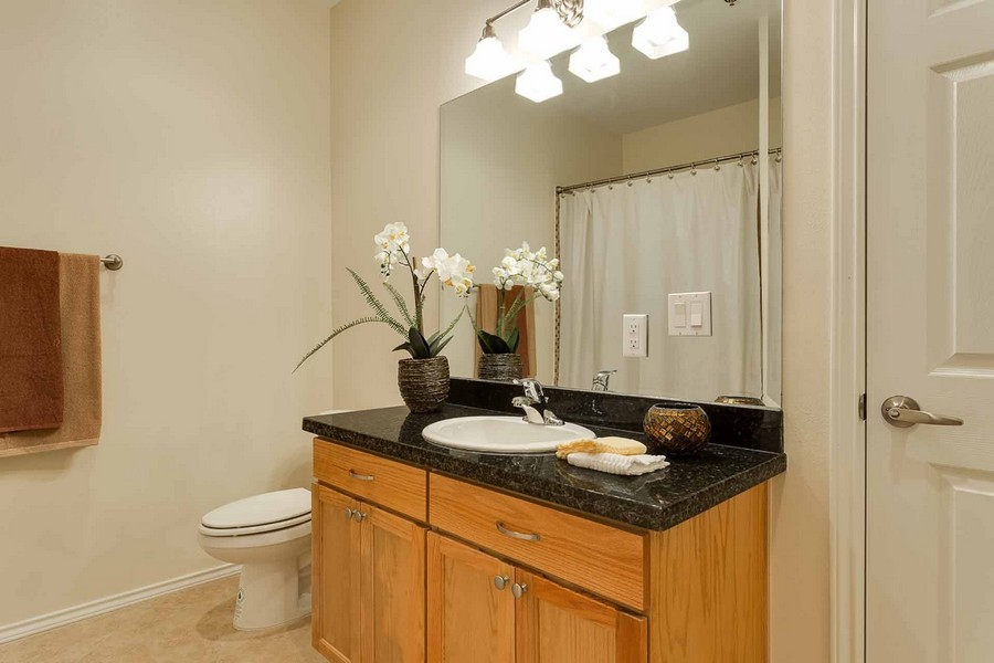 Bathroom sink and cabinets with large mirror