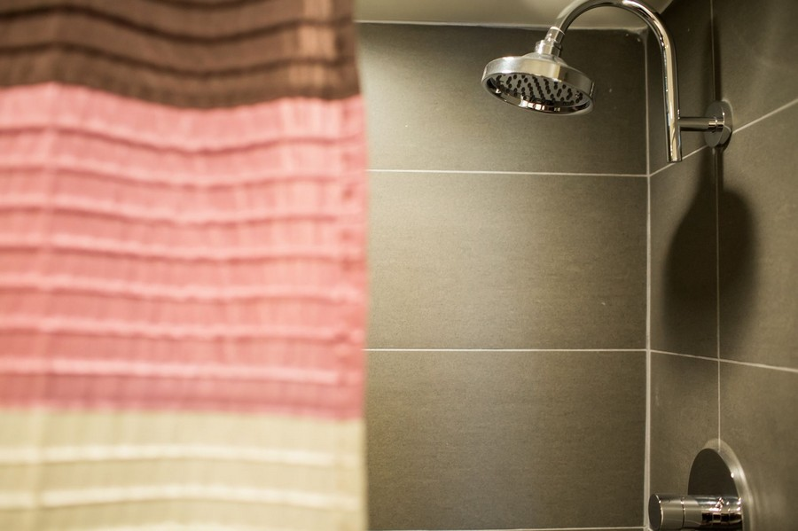 shower with shower curtain