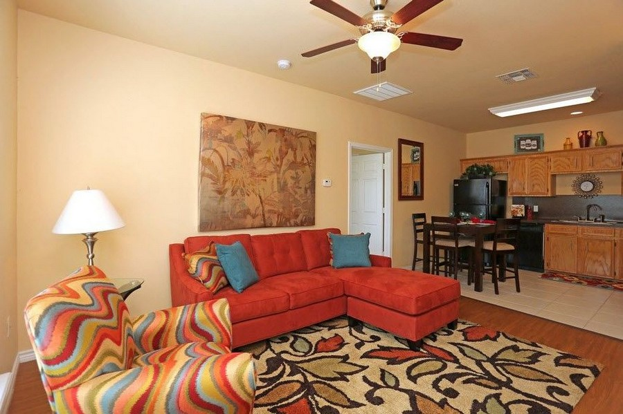 Apartment living Room with red couches