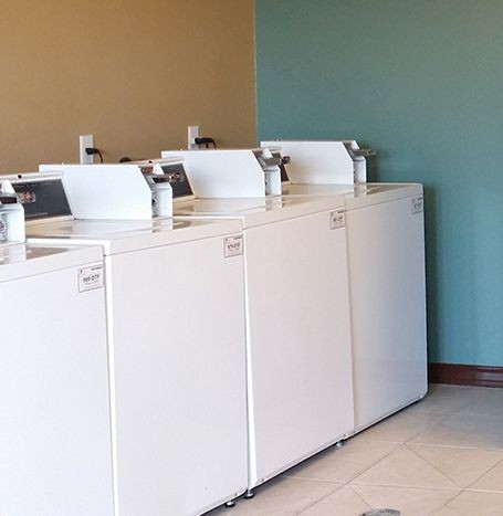 Clothes care center with washer and dryer.