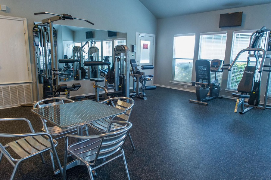 Fitness area with exercise machines.
