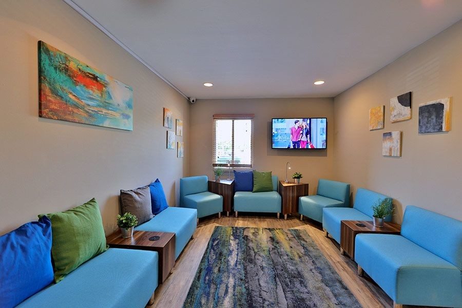 Community indoor sitting area with TV and artwork