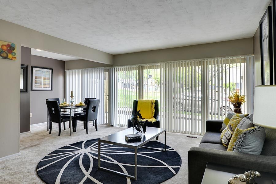 Living room and dining area with furniture
