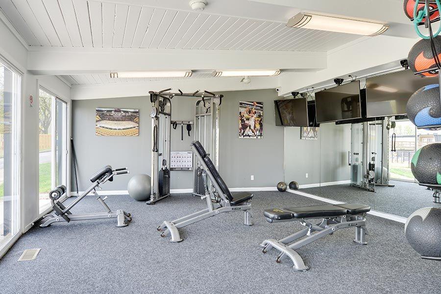 Fitness Center with Cardio Machines & Strength Training Equipment