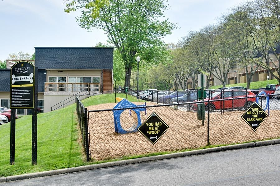 Fenced Bark Park with waste station and pet activities