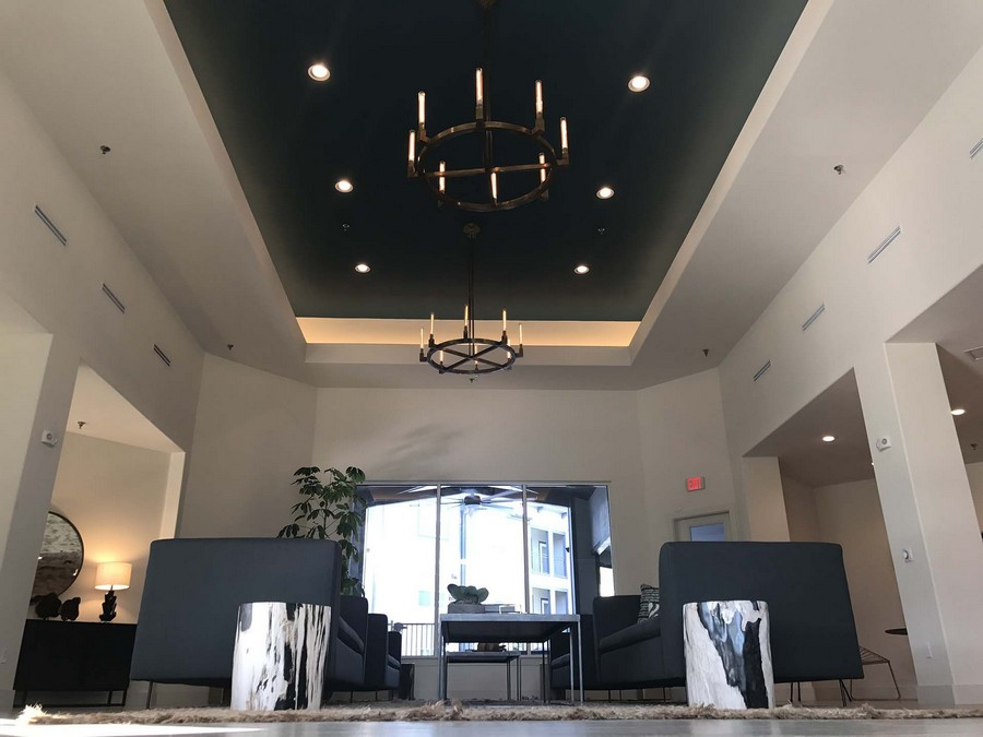 Clubhouse seating and ceiling