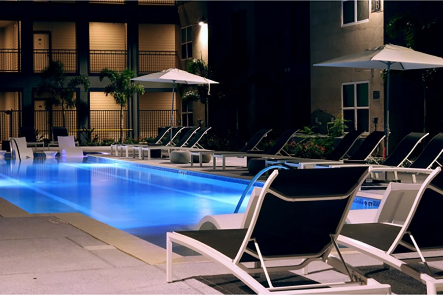 Nighttime view of swimming pool