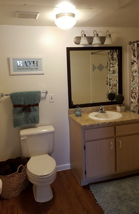 Apartment bathroom with light fixtures