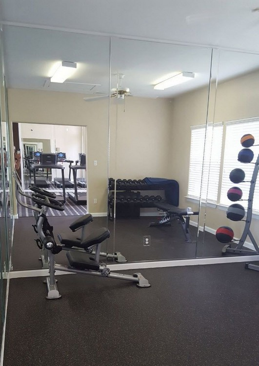 Apartment gym with exercise equipment