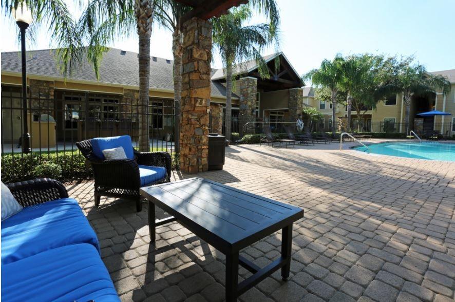 Seating near swimming pool
