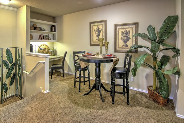 Apartment dining area with built-in desk. Click to view the photo gallery.