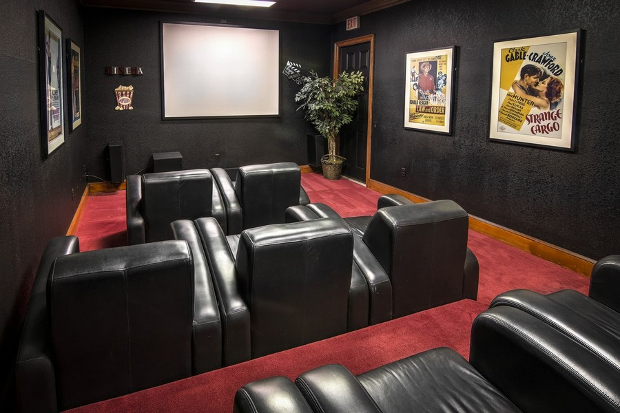 Theater room with reclining seats