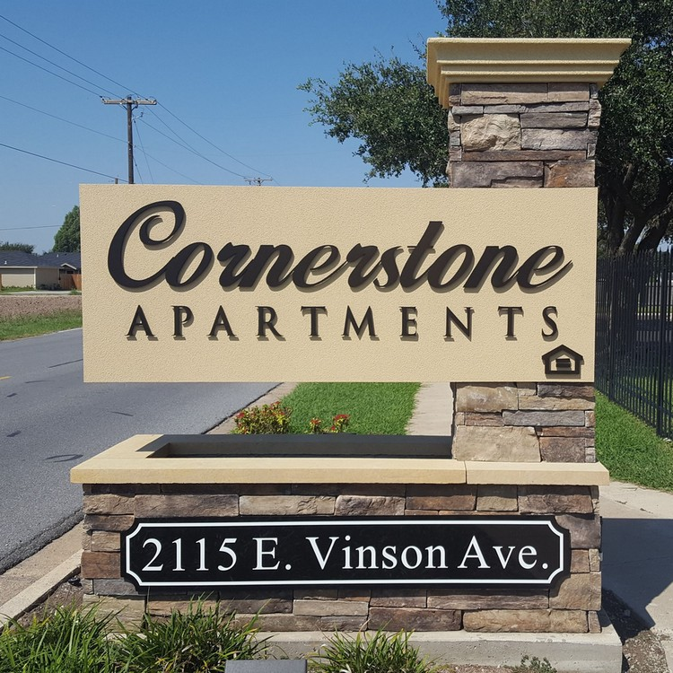 View of Cornerstone Apartments signage